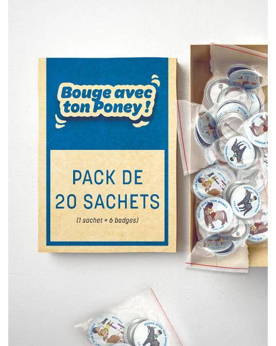 """Lot de 120 badges """"bouge avec ton poney"""""""