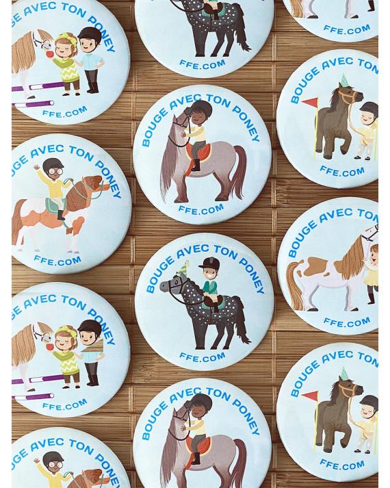 """Lot 6 badges """"bouge avec ton poney"""""""